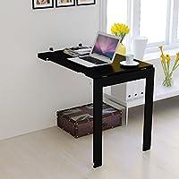 折り畳みテーブル ラップデスク ウォールマウント折りたたみテーブル、キッチンダイニングルーム用ウッドブラック多目的ワークベンチ、175kg