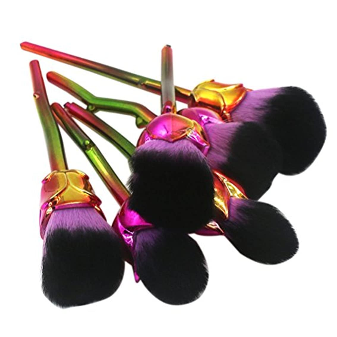 森林剪断支店ディラビューティー(Dilla Beauty) メイクブラシ 薔薇 メイクブラシセット 人気 ファンデーションブラシ 化粧筆 可愛い 化粧ブラシ セット パウダーブラシ フェイスブラシ ローズ メイクブラシ 6本セット ケース付き (パープル)
