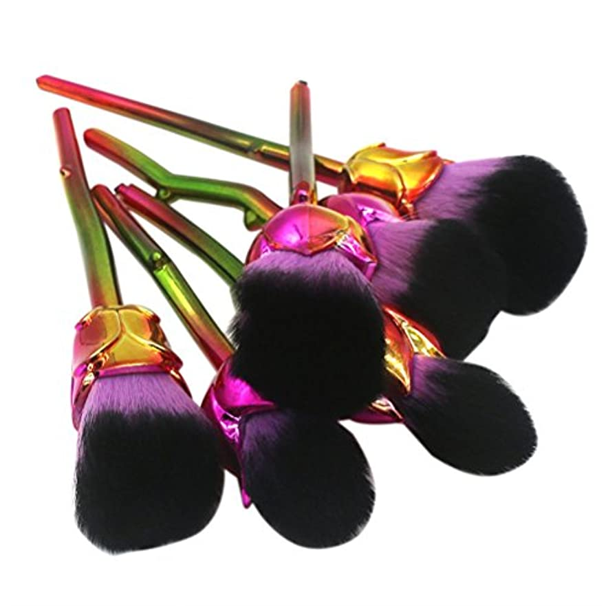 より霜ヘビディラビューティー(Dilla Beauty) メイクブラシ 薔薇 メイクブラシセット 人気 ファンデーションブラシ 化粧筆 可愛い 化粧ブラシ セット パウダーブラシ フェイスブラシ ローズ メイクブラシ 6本セット ケース付き (パープル)