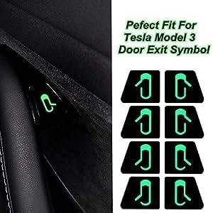 Carrfan 車 ドア 開出口 ステッカー デカールインテリア装飾 [開く]ボタン リマインダー フィット for Tesla Model 3 テスラモデル3用