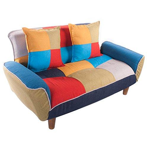 (OSJ)レトロ風ソファー 2人掛け ローソファー sofa 北欧 背もたれ/アーム5段可動 (北欧風)抱きまくら2個付き 天然木脚
