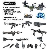 カスタム作成2.5インチの武器パック、レゴ軍用ミニフィギュア、銃のヘルメットやアクセサリー、ビルディングブロック用に使用するためのアクションフィギュア玩具、現代兵士のバージョン