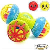 ソフトシリコン赤ちゃんRattleおもちゃ、ダンベルおもちゃセット、ハンドShaking玩具、幼児用Teether教育、2ピース