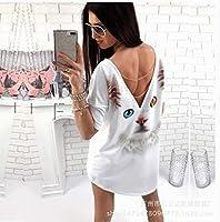 女中長上着プリント半袖Tシャツ女性服, 白いスポット、M