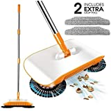 3 in 1 Sweeper-Household Cleaning Spinning Cordless Push-Power Broom Including Broom, Dustpan and Trash Bin for Household Cleaning with 360° Rotation-Lightweight - Non-Electric with 2 Extra Mop Heads
