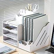 桌面上置物架 桌面收納盒 桌面收納盒 辦公室收納 桌面收納 書架 小物件收納 文件整理 大容量 辦公用品 隔斷