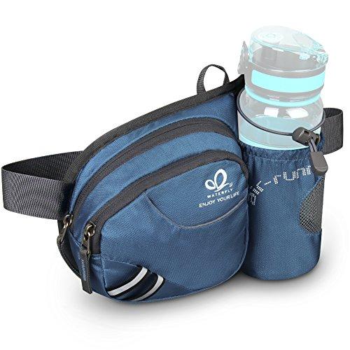 WATERFLY(ウォーターフライ) ウエストバッグ アウトドア 水筒ポーチ付き 旅行 登山 散歩などに適用 メンズ レディース 6色