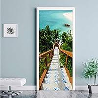 Xbwy Pvc自己接着防水ドアステッカー3Dエーゲ海階段写真壁紙リビングルームの寝室の家の装飾壁紙用3 D-280X200Cm
