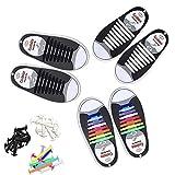 Mocent 結ばない靴ひも  靴ひも スポーツ結ばない  靴紐 伸縮型 くつひも 3セット(大人)48本(子供)36本