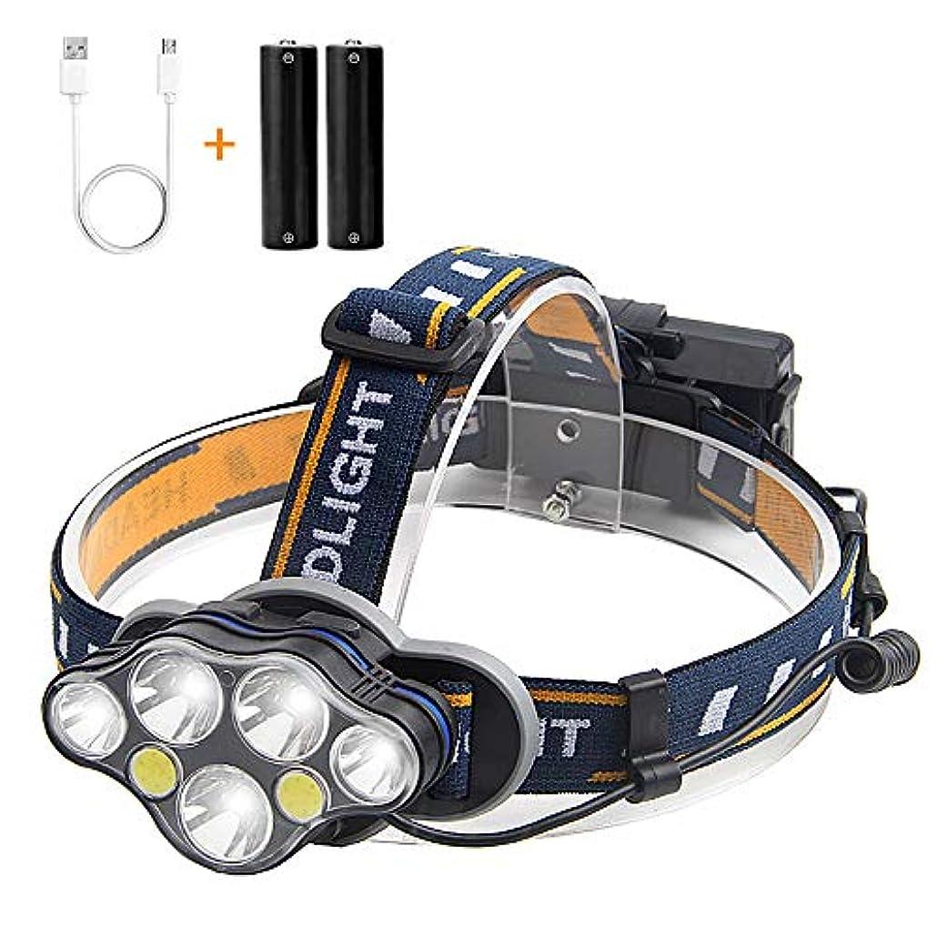 豪華な路面電車ガジュマルLEDヘッドライト 7 LED 高輝度 USB充電式 ヘッドランプ 7点灯モード 防水 作業灯 軽量 持ち運び便利 角度調節可能 登山 キャンプ 夜釣り 防災用品 18650型バッテリー USBケーブル付属