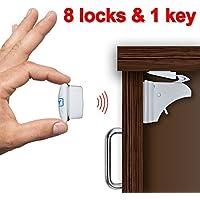 ベビー安全磁気キャビネットロック( 8ロック&1キー)–インストールはdrill-free
