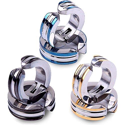 Bihako イヤリング メンズ フェイクピアス ノンホールピアス ステンレス製 3色6個 セット ダブルラインデザイン