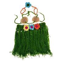 3ピースベビーガールズ手作りのかぎ針編みのフラダンスコスチュームセット写真の小道具(花のスカート)