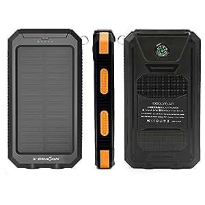 X-DRAGON ソーラーチャージャー モバイルバッテリー 10000mAh 2ポート LEDランプ カラビナつき 充電器 橙
