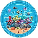 スプリンクル&スプラッシュプレイマット アウトドアスプリンクラーパッド 子供の夏の屋外パーティーのスプリンクラーのおもちゃ水のしぶきパッド、スプリンクラーパッド&直径170 cmのスプラッシュプレイマット (色 : 青, サイズ : 170cm)