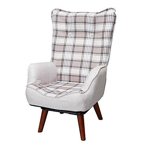 ドウシシャ 高座椅子 1人掛けソファー ハイバック 座椅子 立ち座りラクラク 座面回転式 ブラウン NKHR-BR