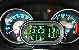 Mercury コンパクト車載用4in1多機能 車用時計 車内外気温 温度計 バッテリー 電圧計 角度調整可能なスタンド式 車中泊 長距離 旅行など グリーンLED