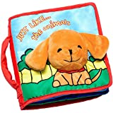 ToBeReadyForLife CLOTH BOOK Baby Gift, Soft Books for Newborn Babies, 1 Year Old & Toddler, Educational Toy for Boy & Girl, Touch and Feel Activity, Crinkle Peekaboo, Gift Box, Interactive Baby Shower Gifts, Washable Fabric