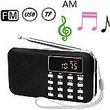 BeiLan AM FM Portable Radio Digital Media Boombox Speaker MP3 Music Player with Emergency LED Flashlight Support USB Port TF Card Slot 3.5mm Headphone Jack Socket (Black)