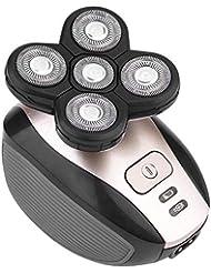 メンズシェーバー 電気シェーバー 5in1多機能電気メンズシェーバー 4Dフローティングヘッド 回転式 シェーバー/鼻毛カッター/洗顔ブラシ/バルカン IPX7防水 丸洗いOK (ゴールド)