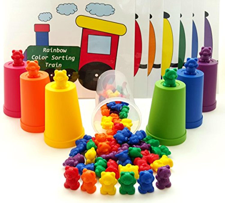 60デラックスレインボーCounting Bears with Matching Sortingカップセット&カラーマッチTrain by Skoolzy – モンテッソーリ幼児用カウンタ& Preschool Manipulative Toys – フリーアクティビティGuideダウンロード