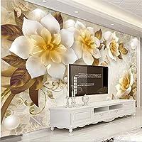 Bzbhart 3Dエンボス椿ヨーロッパのレトロなテレビの背景の壁の装飾画のカスタム大壁画の壁紙壁画-400cmx280cm