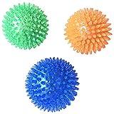 犬用 玩具ボール 音が出る 歯ぎしり 天然ゴム トレーニングボール インタラクティブおもちゃ 頑丈 柔らかい 弾力性 3個セット size M (ブルーオレンジ色グリーン)