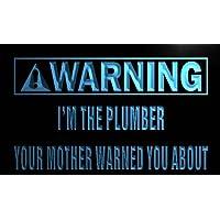 ADVPRO m997-b Warning I'm the Plumber LED看板 ネオンプレート サイン 標識