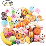 25pcs Kawaii Squishy Medium Mini Soft Squishy Cake Panda Bread Buns Toasts Multi Donuts Phone Straps Charm Gift--No Smell,Green,Healthy,Funny