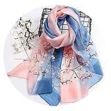 シルクサテンスカーフレディース高級刺繍シルクスカーフ女性の長いセクションシルクスカーフショール刺繍シルクスカーフ