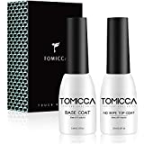TOMICCA 2x10ml No Wipe Top Coat and Base Coat Set,Soak Off UV LED Gel Nail Polish Base and Top Coat Kit Long Lasting Shiny Finish Gel Polish