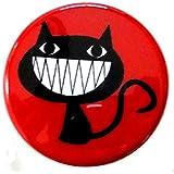 【ノーブランド品】 缶バッジ クロネコ 黒猫 赤 直径38mm 裏ピン