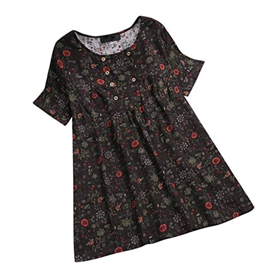 研究対人報いるレディース tシャツ プラスサイズ 半袖 丸首 花柄 ボタン ビンテージ チュニック トップス 短いドレス ブラウス 人気 夏服 快適な 軽い 柔らかい かっこいい ワイシャツ カジュアル シンプル オシャレ 春夏秋 対応