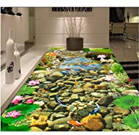 Wuyyii 3 D Pvcフローリングカスタムウォールステッカー3 D Hdストリーム金魚ロータス3Dバスルームフローリング絵画写真3D壁壁画壁紙