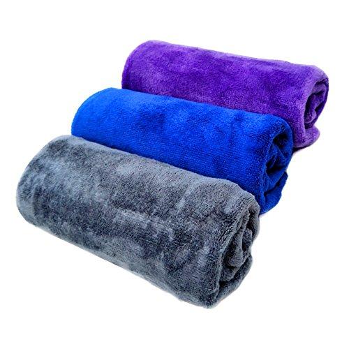 マイクロファイバー 洗車タオル クロス タオル 美容院タオル 業務用タオル 3枚セット (40cmx60cm)