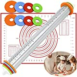 Adjustable Rolling Pin, Stainless Steel Roller Pin with Thickness Rings and Pastry mat for Bakery Cookie Fondant Dough Pastry Pizza Pie Crust,Kids Baking Guides Set (GM001)