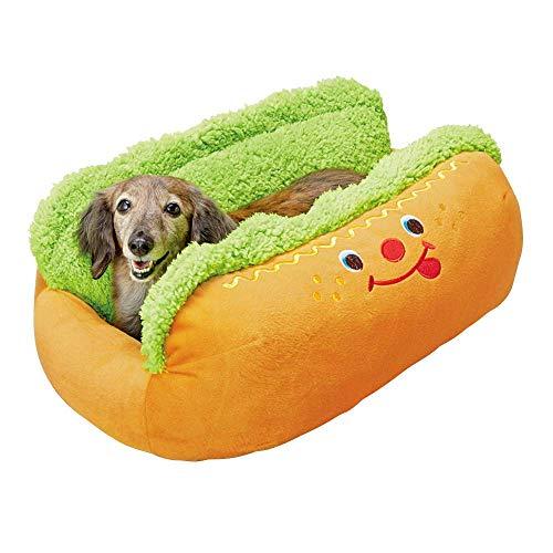 ポンポリースオリジナル 犬用クッション ホットドッグベッド(5725)【M】可愛い愛犬がウインナーに! 抗菌・防臭加工付 マット手洗い可 底に滑り止め生地使用 ペット用品専門メーカーポンポリース[正規品]