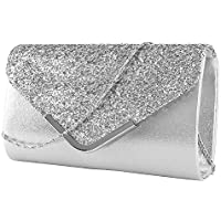 Rebecca Women's Glitter Sequins Envelope Evening Bag Mini Party Clutch Handbag Pures