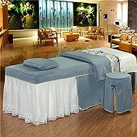 純粋な色 マッサージテーブルシート レースステッチのセット,な 美容ベッドカバー 美容サロンスカートシートのための4pc通気性カバーレット,毛布カバー,枕カバー,チェアカバー-f 185x70cm(73x28inch)