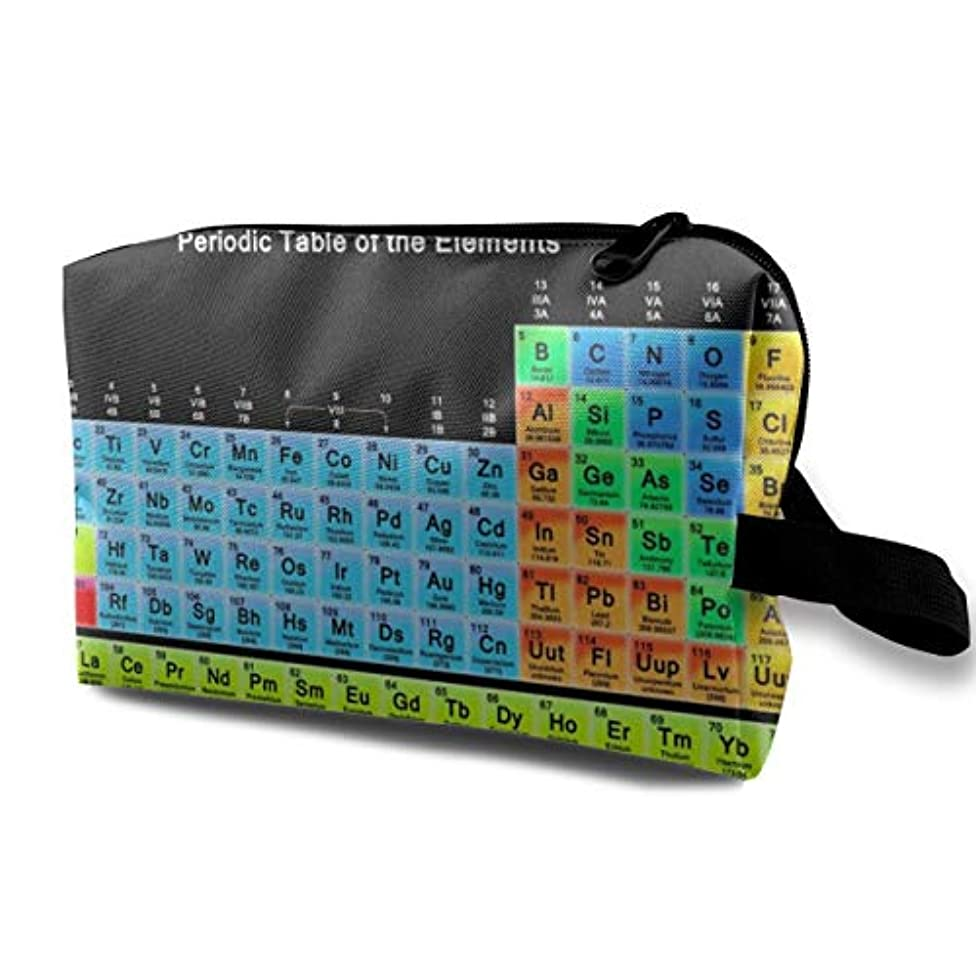 引退した強制的後継Periodic Table Of Elements 収納ポーチ 化粧ポーチ 大容量 軽量 耐久性 ハンドル付持ち運び便利。入れ 自宅?出張?旅行?アウトドア撮影などに対応。メンズ レディース トラベルグッズ