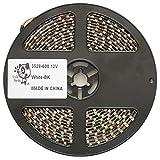 Smile Panda プロ仕様 12V LEDテープ SMD 3528 600連 5m 白 ホワイト 黒ベース 正面発光 ハンダ付不要 両端配線済 防水 IP65 切断可能 強力粘着両面テープ