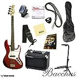 【初期調整済みですぐ弾ける!】 Bacchus バッカス BJB-1 オリジナルエレキベースセット (R/CAR) キャンディアップルレッド