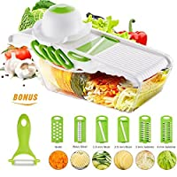 (Green) - Mandoline Vegetable Cutter Slicer Chopper of Godmorn - 6 Interchangeable Blades with Peeler, Hand Protector,Storage Container - Cutter for Potato,Tomato, Onion, Cucumber,etc