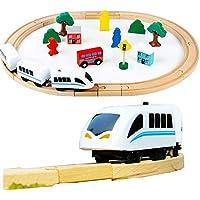 UiiQ 木製レールシリーズ 汽車レール 列車 機関車 セット 30ピース 車両つき 組み立て 磁石ミニカー 男の子 女の子 積み木 おもちゃ