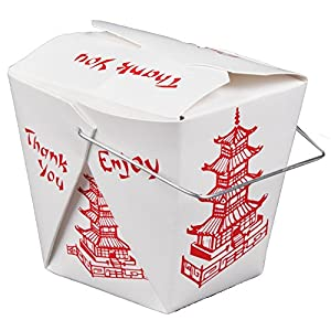 Chinese Take Out Boxes PAGODA 16 oz / Pint Size Party Favor and Food Pail by Fold Pak