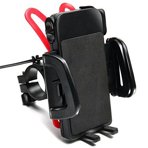 ClaviruSia(クラウィルシア) バイク用 スマホホルダー USB 急速充電 防水 電源スイッチ(ラバーグリップ2枚付)