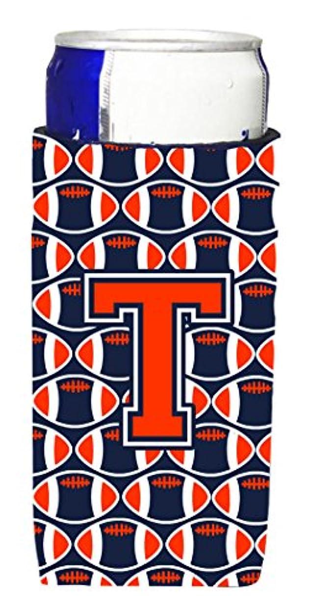 祝福する暗黙文明Letter T Footballオレンジ、ブルーとホワイトUltra Beverage Insulators forスリム缶cj1066-tmuk