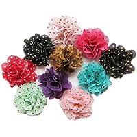 YYCRAFT 30pcs Cute Mini Chiffon Flower, Hair Flower for DIY Headband Craft