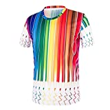 Hanaturu メンズ Tシャツ 半袖 3Dプリント おしゃれ ストリート Tシャツ カジュアル グルーネック 虹色 SM L XL XXL (L)