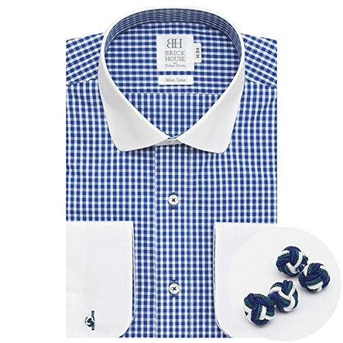 長袖 スリム ワイシャツ 形態安定 クレリック ラウンド 白×ブルーチェック BYLL24519E-10 ブルー S-84